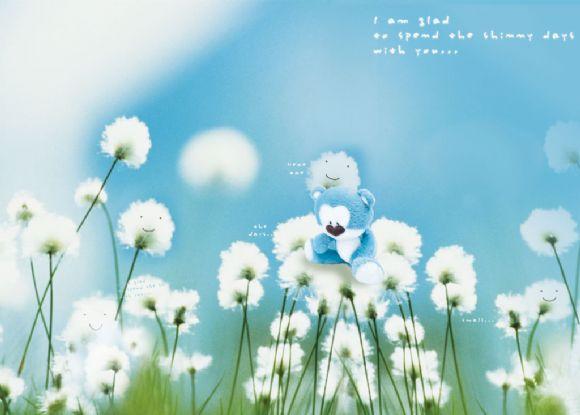 可爱小熊花朵ppt背景图片