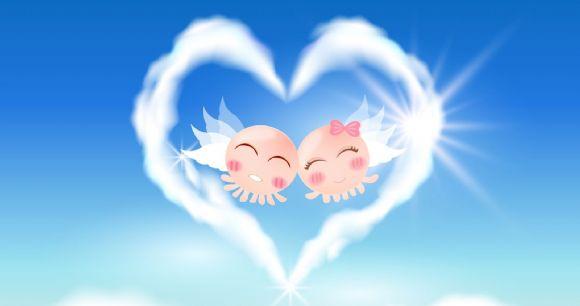可爱的卡通小人物 爱心白云ppt背景图片