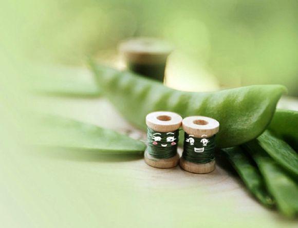 可爱的缝纫线绿色ppt背景图片