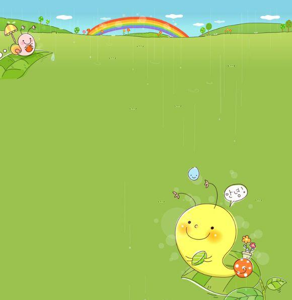 可爱的蜗牛 彩虹韩国卡通风景ppt背景图片