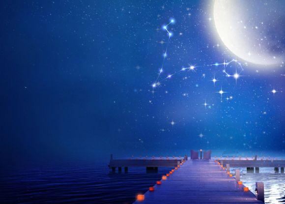 蓝色星座海洋码头ppt背景图片