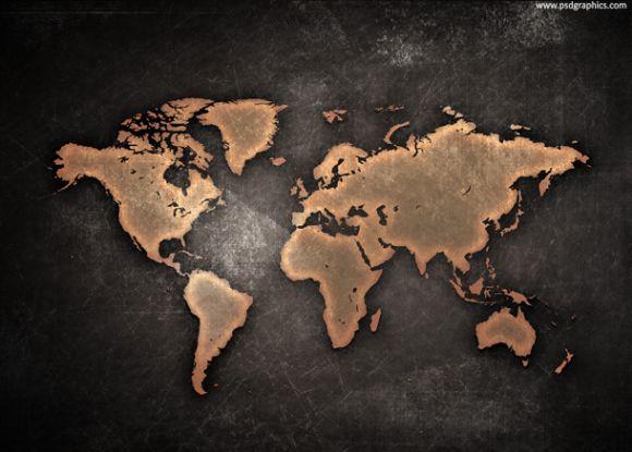 金属质感世界地图ppt背景图片