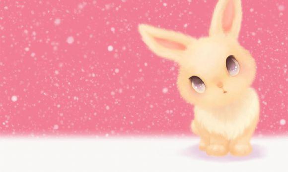 可爱的兔子粉色ppt背景图片
