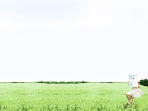 美女在草地画画小清新ppt背景图片