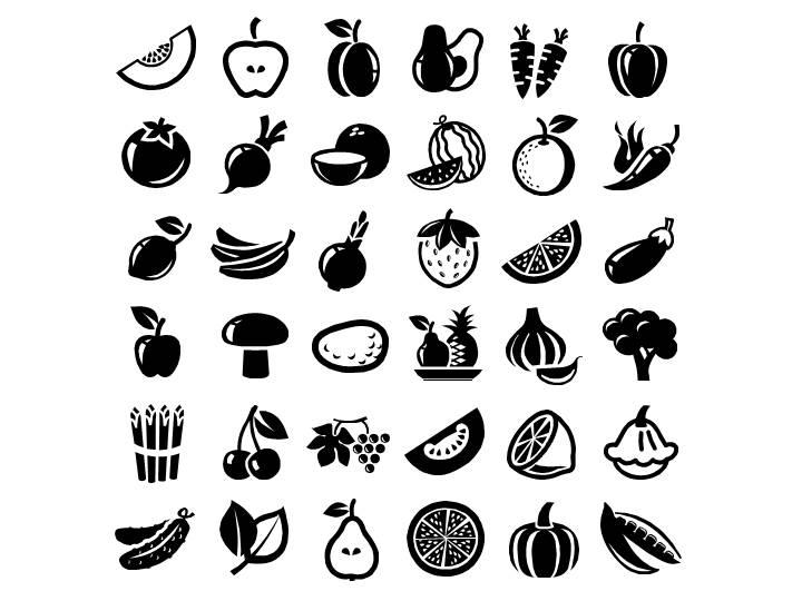 矢量水果蔬菜食物类ppt图标