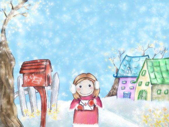 可爱的小女孩拿着信封准备投递ppt背景图片