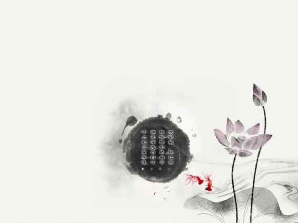 墨点荷花金鱼古典中国风ppt背景图片