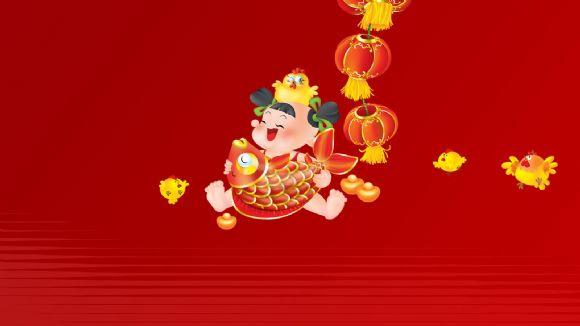 新年迎春中国红喜庆幻灯片背景图片