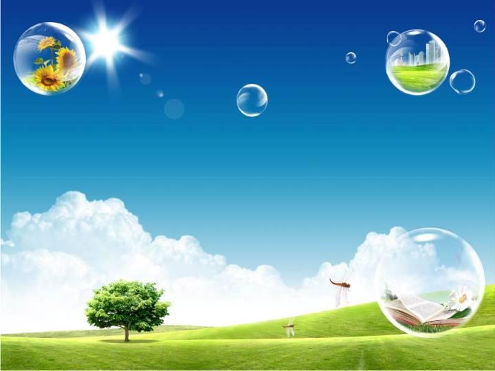 绿色清新大自然自然风景PPT模板